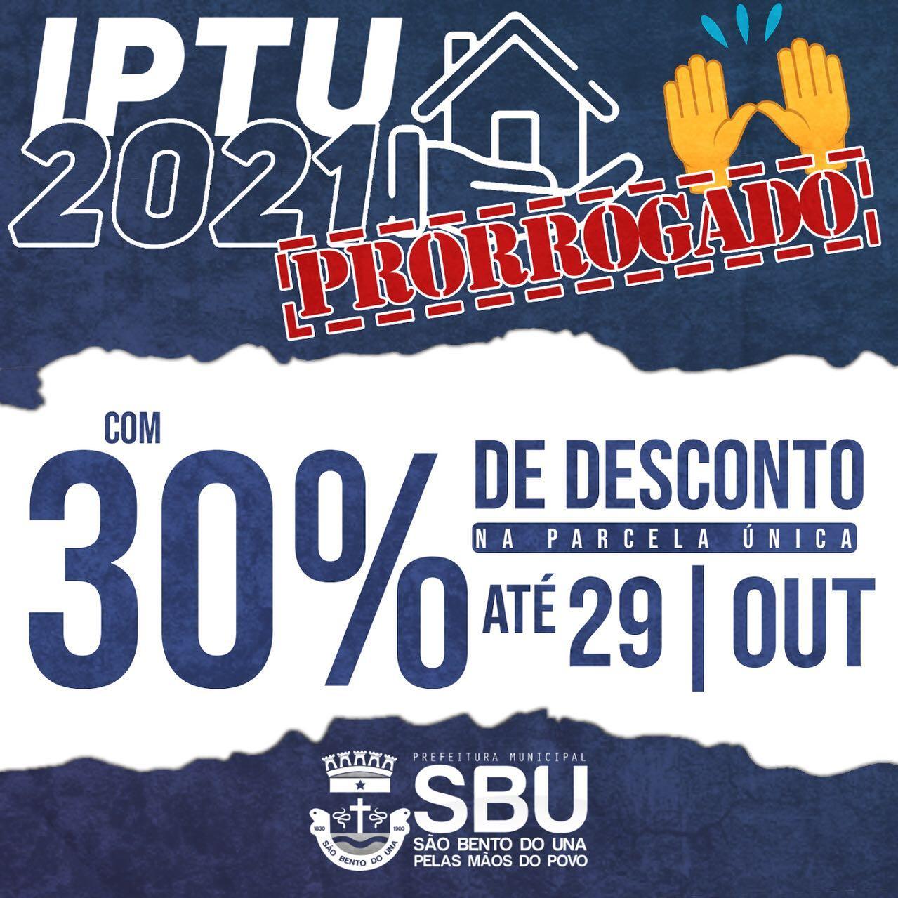 IPTU 2021 com desconto de 30% (Prorrogado)